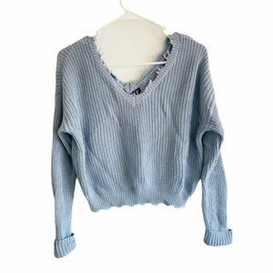 Moon & Madison Washed Distress V-neck Sweater